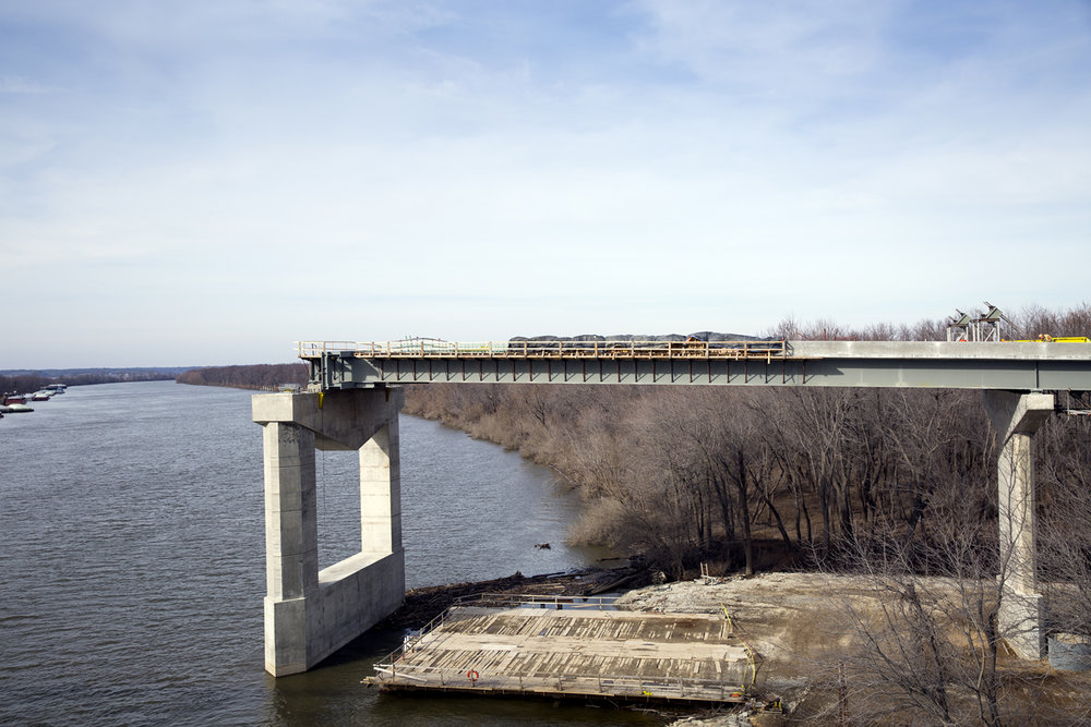 The east approach of a new $75.1 million bridge that will carry Illinois 104 over the Illinois River at Meredosia is under construction Friday, Feb. 10, 2017. The structure is north of the old bridge, which opened in 1936 and will eventually be demolished. [Rich Saal/The State Journal-Register]