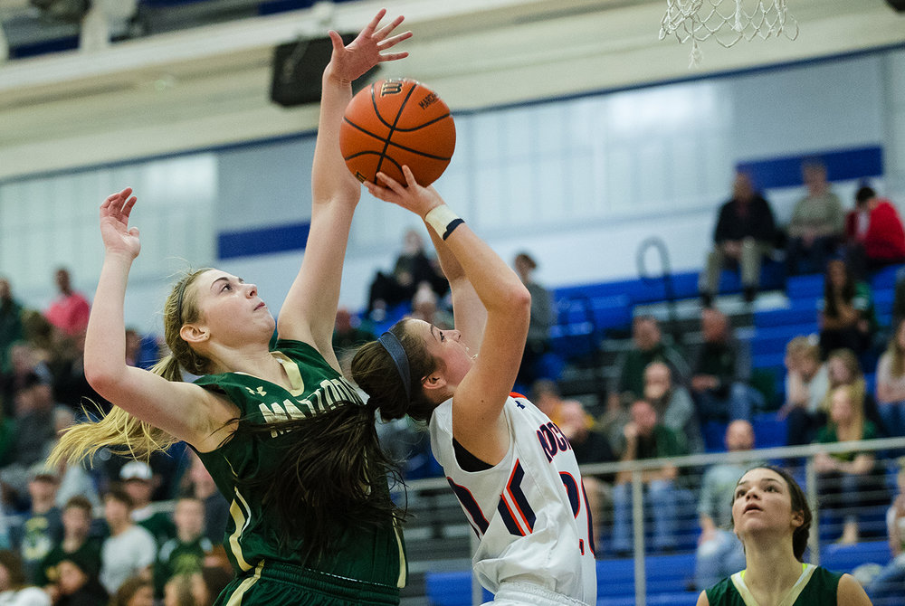 Rochester's Aubrey Magro drives the lane against Mattoon during the Class 3A Decatur MacArthur Sectional title game at Decatur MacArthur High School February 23, 2017. [Ted Schurter/The State Journal-Register]