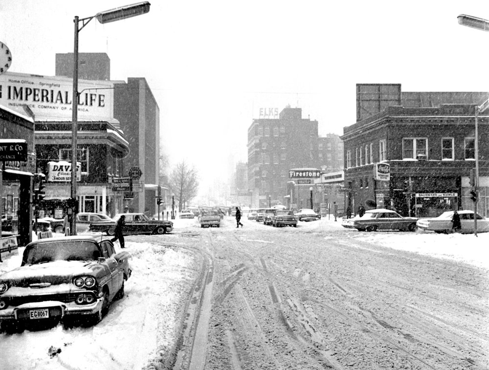 Springfield received 14.4 inches of snow on Feb. 24 and 25, 1965. This image shows the intersection of Sixth Street and Capitol Avenue, looking south. File/The State Journal-Register