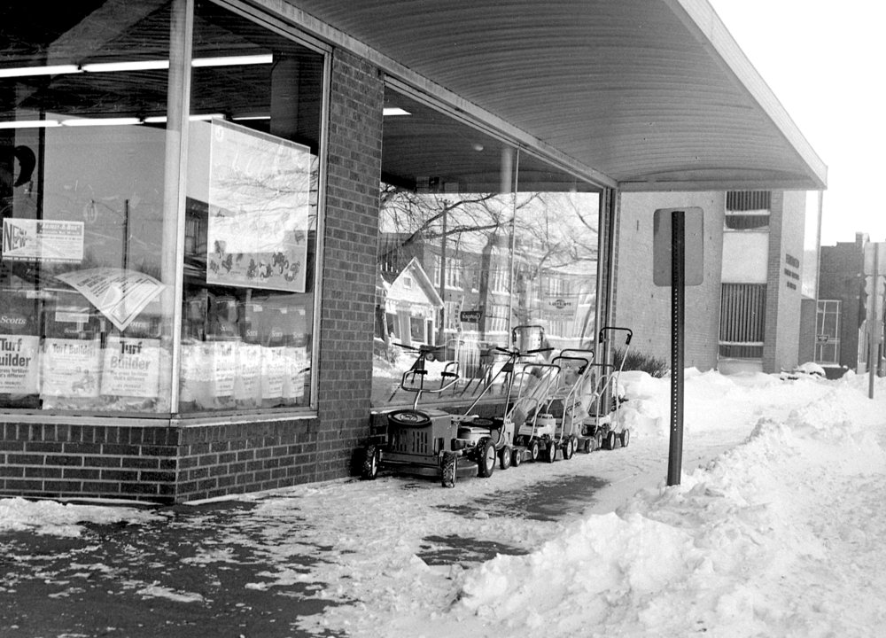 Springfield received 14.4 inches of snow on Feb. 24 and 25, 1965. At Black Hardware Co. at 1614 S. MacArthur Blvd., they were looking ahead to spring with a display of mowers. File/The State Journal-Register