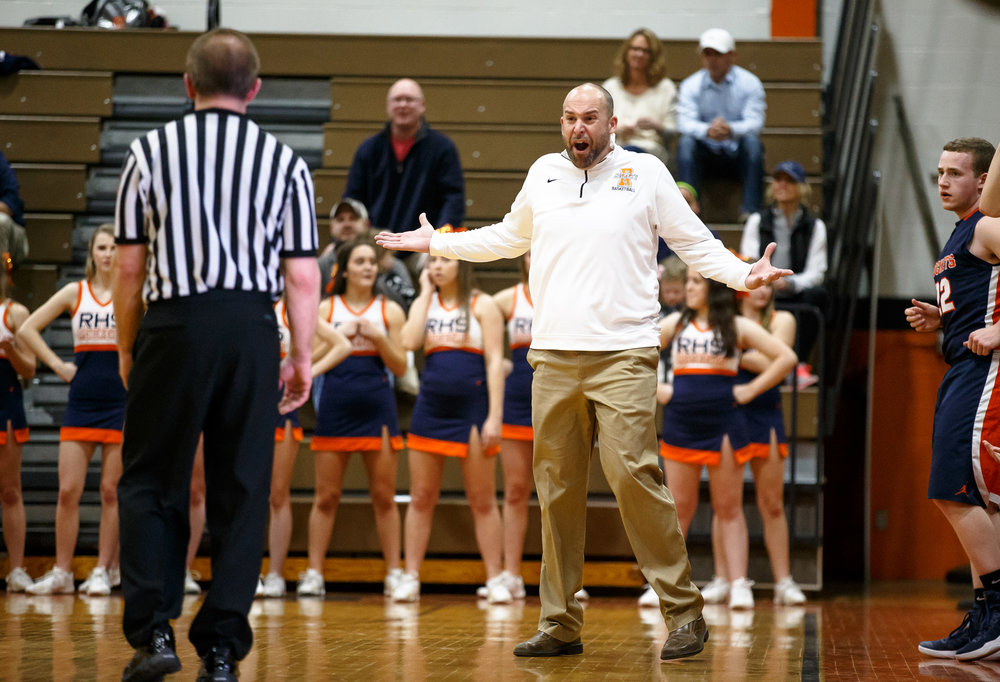 Rochester boys basketball head coach Mike Steers argues for a call as the Rockets take on Lanphier in the second quarter during the Class 3A Lanphier Regional at Lober-Nika Gymnasium, Tuesday, Feb. 28, 2017, in Springfield, Ill. [Justin L. Fowler/The State Journal-Register