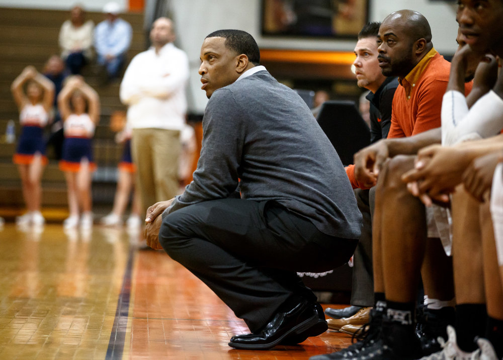Lanphier boys basketball head coach Blake Turner watches as his team takes on Rochester in the third quarter during the Class 3A Lanphier Regional at Lober-Nika Gymnasium, Tuesday, Feb. 28, 2017, in Springfield, Ill. [Justin L. Fowler/The State Journal-Register