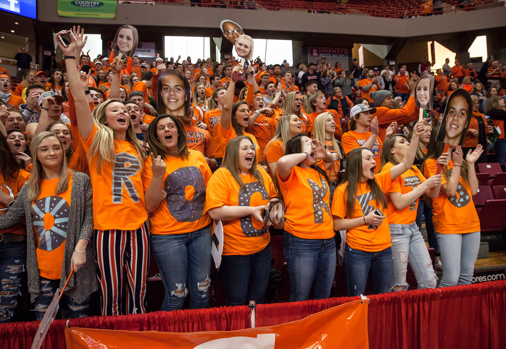 The Rochester student sections cheers on the team as they take the court to take on Chicago Marshall in the IHSA Class 3A Girls State Basketball Tournament semifinals at Redbird Arena, Friday, March 3, 2017, in Normal, Ill. [Justin L. Fowler/The State Journal-Register