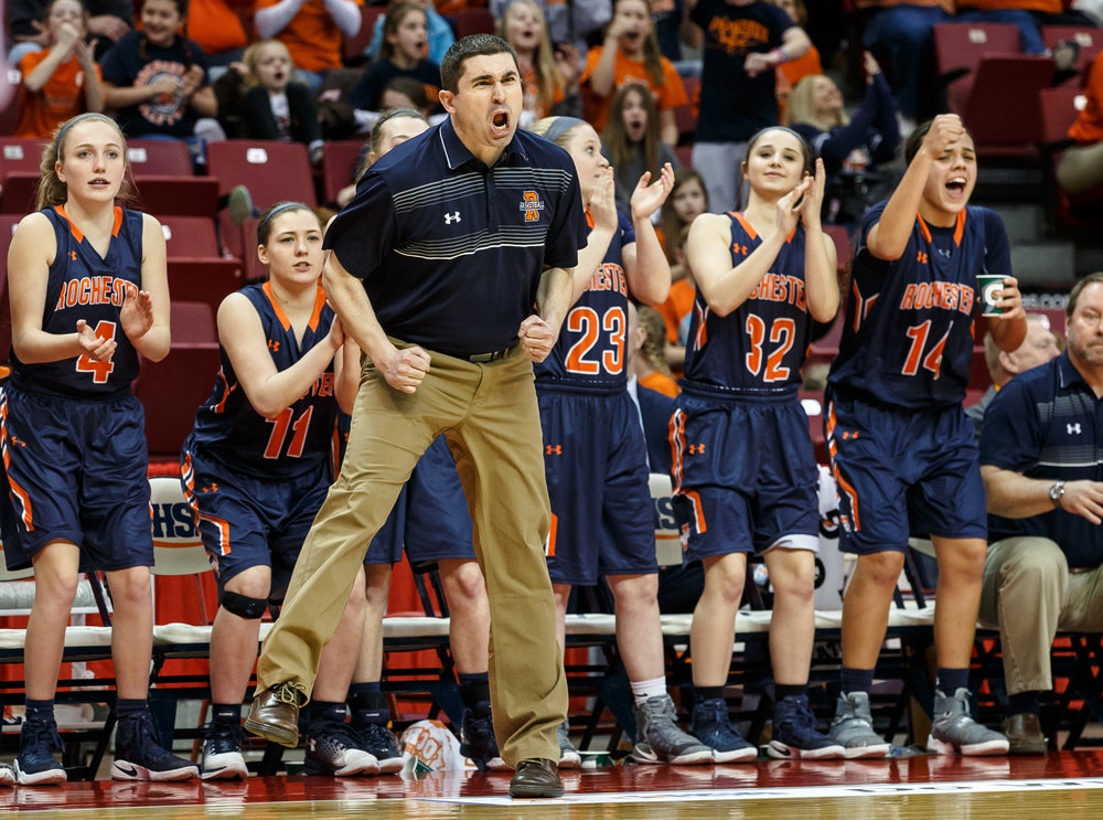 Rochester girls basketball head coach J.R. Boudouris screams out as the Rockets maintain their lead against Chicago Marshall in the fourth quarter of the IHSA Class 3A Girls State Basketball Tournament semifinals at Redbird Arena, Friday, March 3, 2017, in Normal, Ill. [Justin L. Fowler/The State Journal-Register
