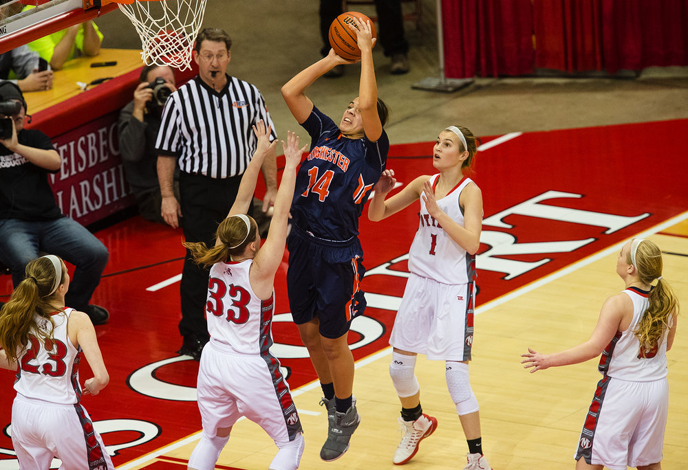 Rochester's Lyric Boone puts up a shot against Morton during the 2017 IHSA Girls Basketball Class 3A championship game at Redbird Arena Saturday, March 3, 2017. [Ted Schurter/The State Journal-Register]