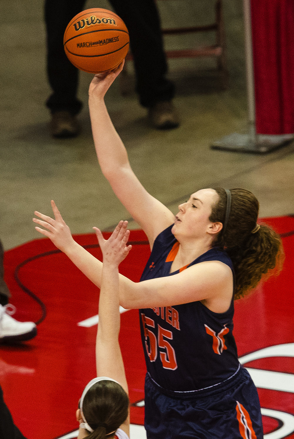 Rochester's Angela Perry scores two against Morton during the 2017 IHSA Girls Basketball Class 3A championship game at Redbird Arena Saturday, March 3, 2017. [Ted Schurter/The State Journal-Register]