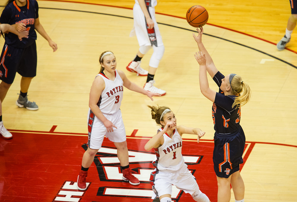 Rochester's Madison Faulkner shoots over Morton's Tenley Dowell during the 2017 IHSA Girls Basketball Class 3A championship game at Redbird Arena Saturday, March 3, 2017. [Ted Schurter/The State Journal-Register]