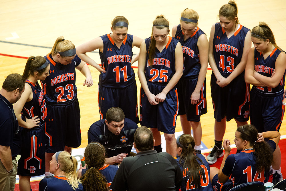 Rochester's head coach J.R. Boudouris instructs the team during a timeout against Morton during the 2017 IHSA Girls Basketball Class 3A championship game at Redbird Arena Saturday, March 3, 2017. [Ted Schurter/The State Journal-Register]