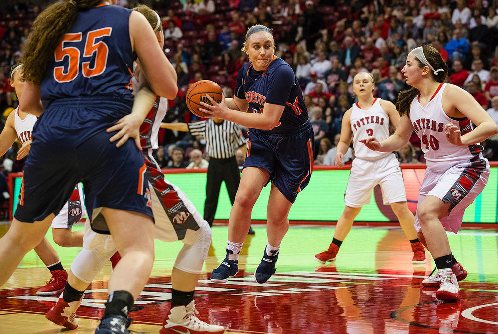 Rochester's Madison Faulkner drives the lane against Morton during the 2017 IHSA Girls Basketball Class 3A championship game at Redbird Arena Saturday, March 3, 2017. [Ted Schurter/The State Journal-Register]