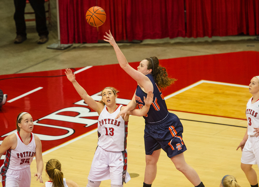 Rocehster's Angela Perry gets a shot over Morton's Ivy Nichols during the 2017 IHSA Girls Basketball Class 3A championship game at Redbird Arena Saturday, March 3, 2017. [Ted Schurter/The State Journal-Register]