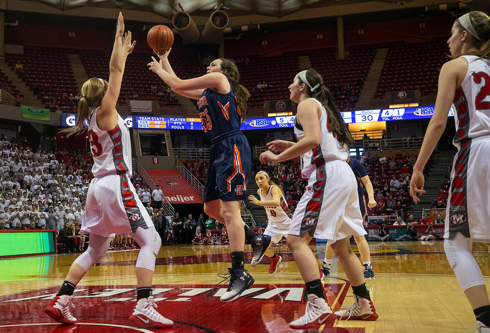 Rochester's Angela Perry shoots over Morton's Ivy Nichols during the 2017 IHSA Girls Basketball Class 3A championship game at Redbird Arena Saturday, March 3, 2017. [Ted Schurter/The State Journal-Register]