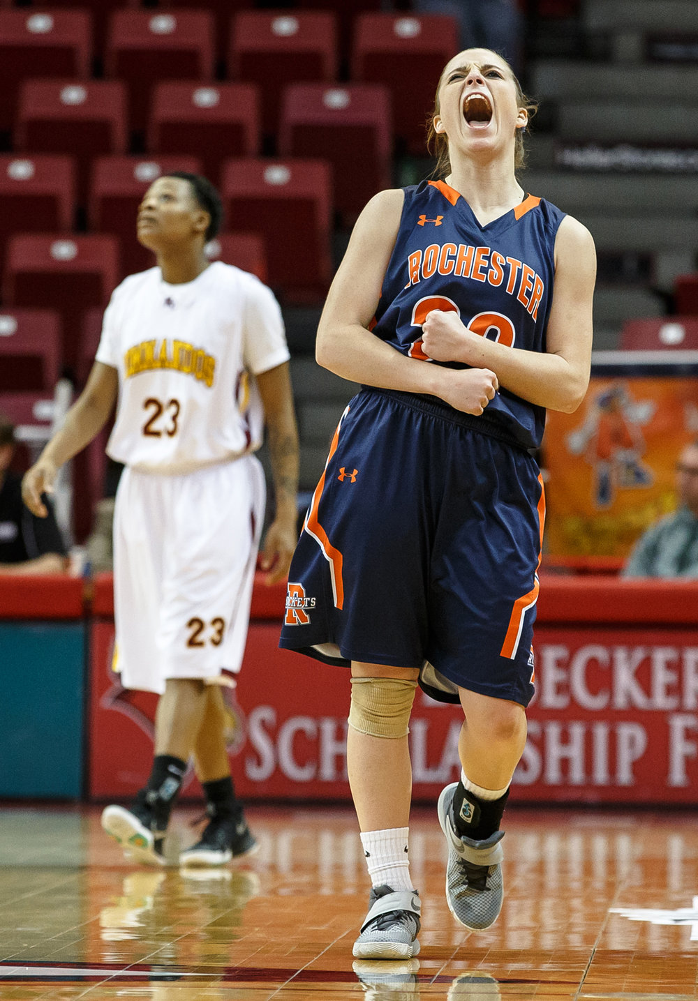 Rochester's Aubrey Magro (20) roars out as the Rockets take their lead into the closing minute of the game against Chicago Marshall in the fourth quarter of the IHSA Class 3A Girls State Basketball Tournament semifinals at Redbird Arena, Friday, March 3, 2017, in Normal, Ill. [Justin L. Fowler/The State Journal-Register
