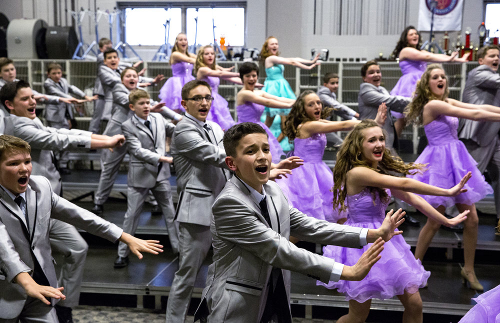 The Dynamics show choir from El Paso Junior High School rehearse for their performance at The Event Friday, March 3, 2017 at Glenwood High School. In its fifth year, the competition draws show choirs from throughout the midwest. [Rich Saal/The State Journal-Register]