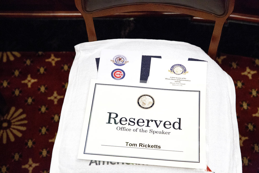 A seat is reserved for Chicago Cubs' Chairman Tom Ricketts in the House chamber at the Capitol where the World Champion Cubs were honored during a joint session of the General Assembly at the Capitol Wednesday, March 8, 2017. [Rich Saal/The State Journal-Register]