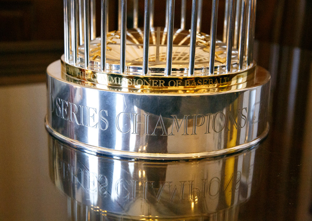 The World Champion Chicago Cubs' trophy made an appearance in the Illinois House when the Cubs were honored during a joint session of the General Assembly at the Capitol Wednesday, March 8, 2017.[Rich Saal/The State Journal-Register]