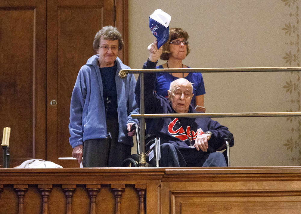 Chicago Cubs fan and Springfield resident Ray Ackerman, 99, was watching from the gallery when Rep. Tim Butler, R-Springfield, mentioned him during a joint session of the General Assembly held to honor the World Champion Chicago Cubs Wednesday, March 8, 2017 at the Capitol. Ackerman, who was accompanied by his wife Margaret and daughter, Karen Witter, became a fan when he turned 10 years old, in 1928, Butler said. [Rich Saal/The State Journal-Register]