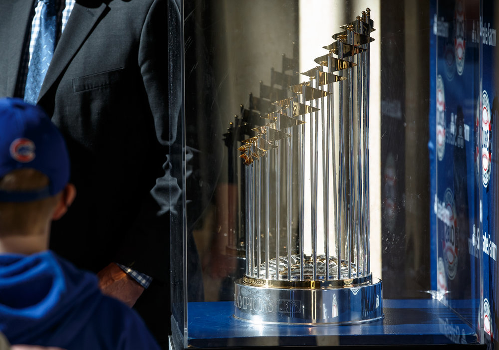 The Commissioner's Trophy of Chicago Cubs World Series Champions on display for the public at the Abraham Lincoln Presidential Museum, Wednesday, March 8, 2017, in Springfield, Ill. [Justin L. Fowler/The State Journal-Register