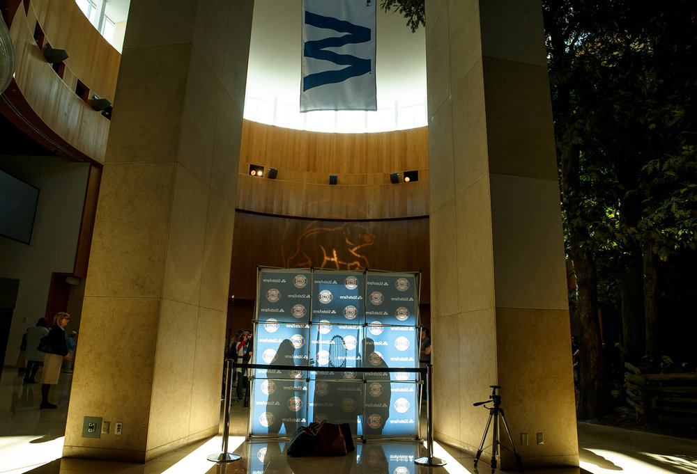 "The ""W"" Flag hangs inside the Plaza above the Chicago Cubs World Series trophy on display at the Abraham Lincoln Presidential Museum, Wednesday, March 8, 2017, in Springfield, Ill. [Justin L. Fowler/The State Journal-Register"