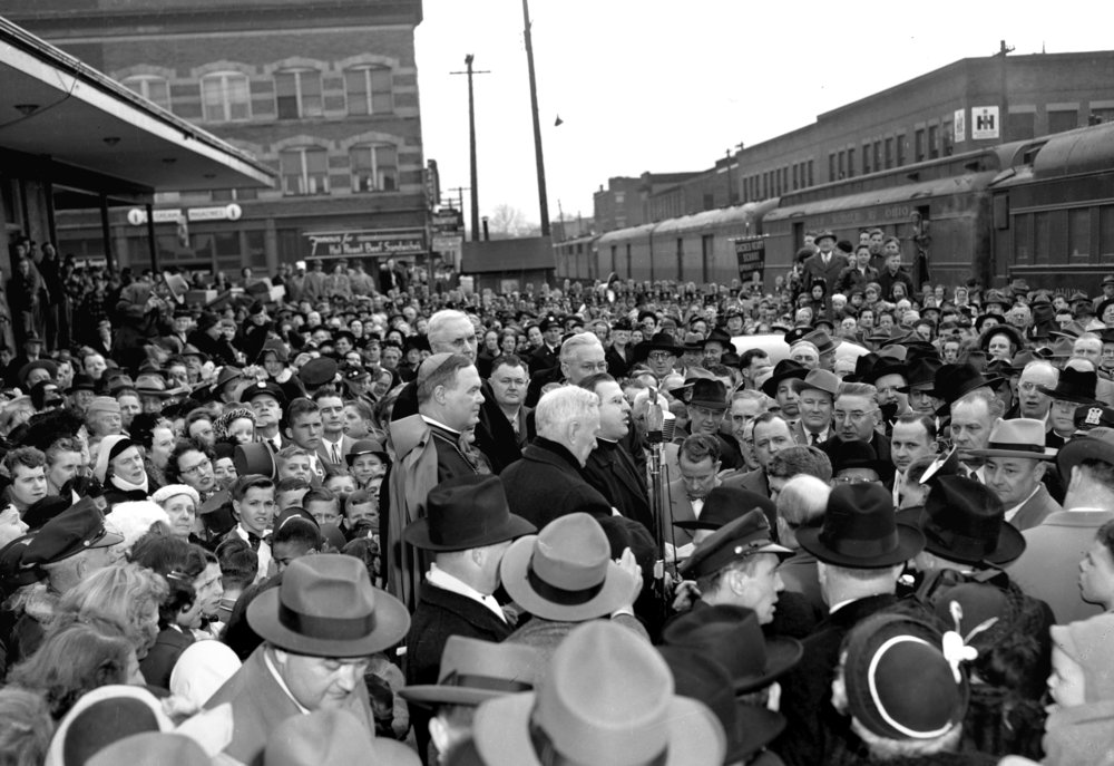 Bishop William A. O'Connor arrives in Springfield March 17, 1949.