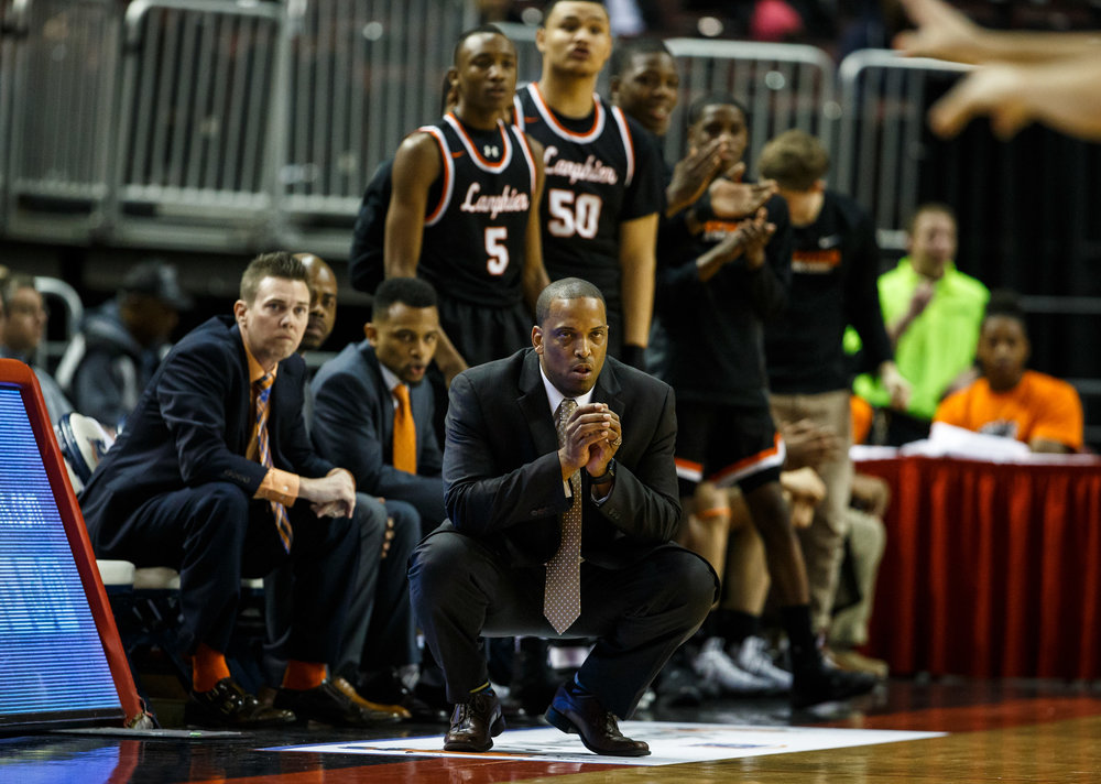 Lanphier boys basketball head coach Blake Turner watches as the Lions take on Chicago Morgan Park in the first quarter during the semifinals of the IHSA Class 3A Basketball State Finals at Carver Arena, Friday, March 17, 2017, in Peoria, Ill. [Justin L. Fowler/The State Journal-Register]