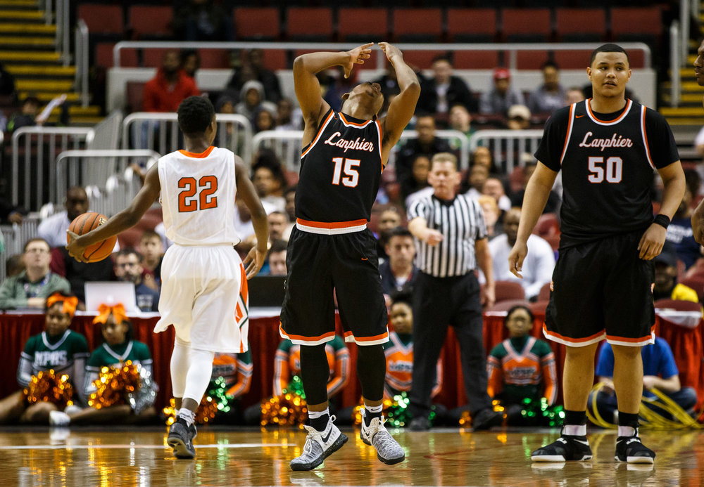 Lanphier's Stanley Morgan (15) reacts after getting a foul called on him as he guarded Chicago Morgan Park's Marcus Watson (22) in the fourth quarter during the semifinals of the IHSA Class 3A Basketball State Finals at Carver Arena, Friday, March 17, 2017, in Peoria, Ill. [Justin L. Fowler/The State Journal-Register]