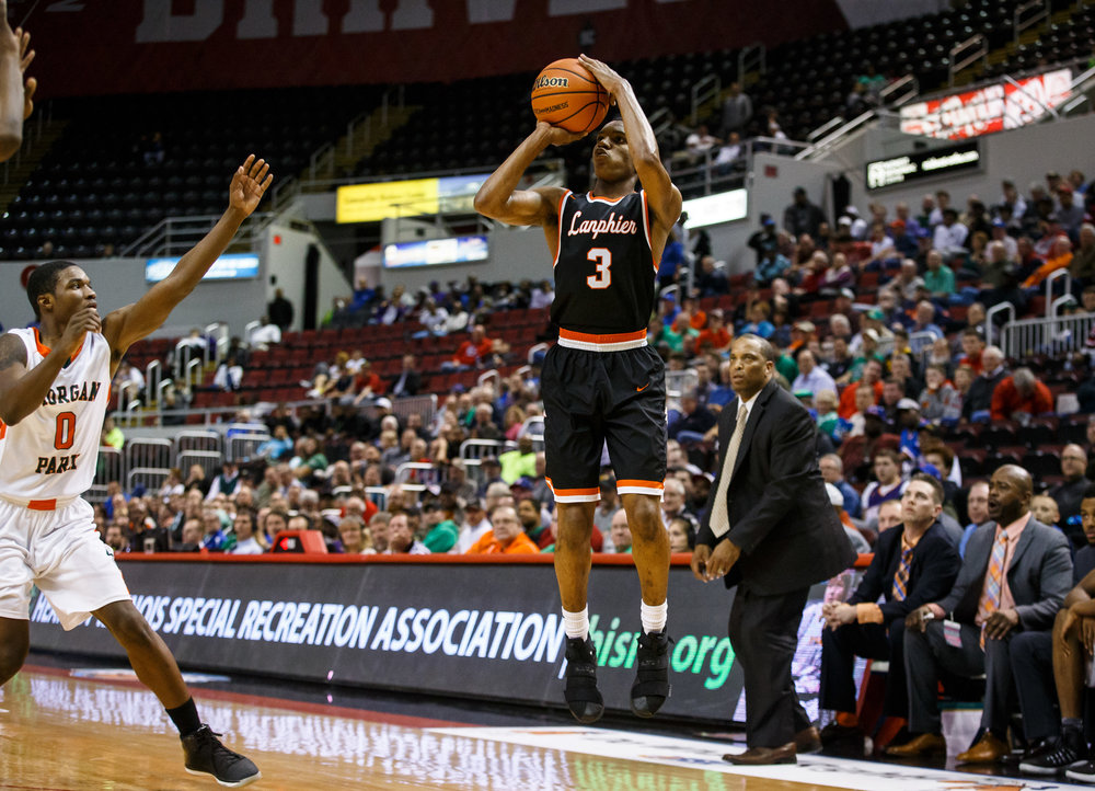 Lanphier's Aundrae Williams (3) attempts a 3-pointer against Chicago Morgan Park's Lamond Johnson (0) in the fourth quarter during the semifinals of the IHSA Class 3A Basketball State Finals at Carver Arena, Friday, March 17, 2017, in Peoria, Ill. [Justin L. Fowler/The State Journal-Register]