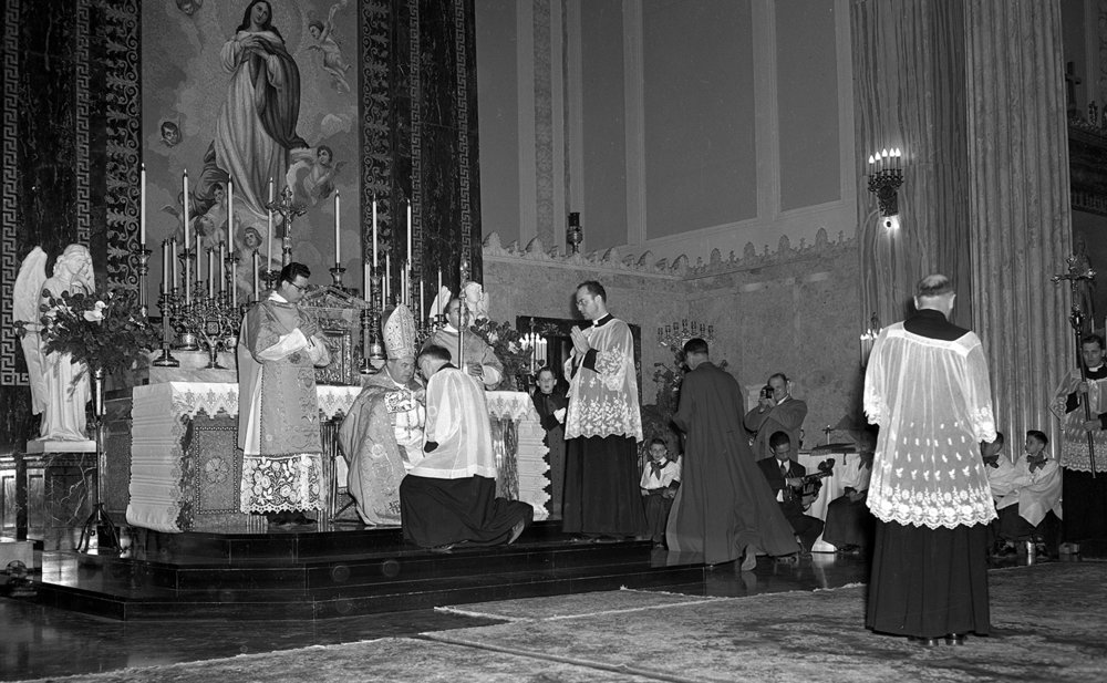 Bishop William A. O'Connor is installed as Bishop of the Springfield Catholic Diocese in March 1949. File/The State Journal-Register