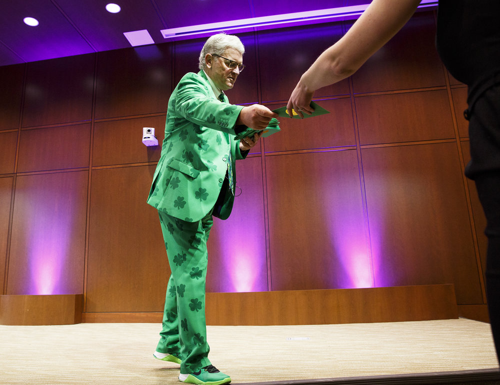 Dr. Erik Constance, associate dean of student affairs at Southern Illinois University School of Medicine, was dressed for St. Patrick's Day but also had a key role in Match Day Friday, March 17, 2017 when he  passed out the envelopes to medical students that reveal where they will go to begin their medical residency program. [Rich Saal/The State Journal-Register]