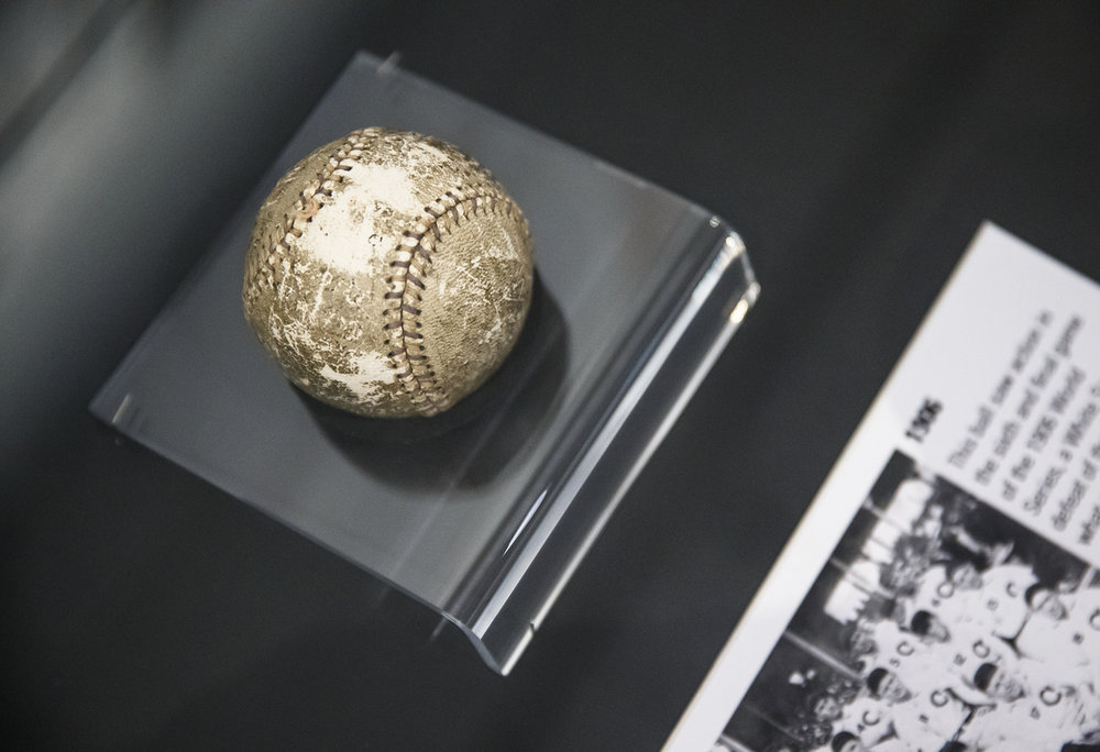 """A ball used in the final game of the only all-Chicago World Series from 1906 during a media preview for the """"Cubs vs. Cardinals: The Rivalry"""" exhibit at the Abraham Lincoln Presidential Museum, Thursday, March 23, 2017, in Springfield, Ill. [Justin L. Fowler/The State Journal-Register]"""