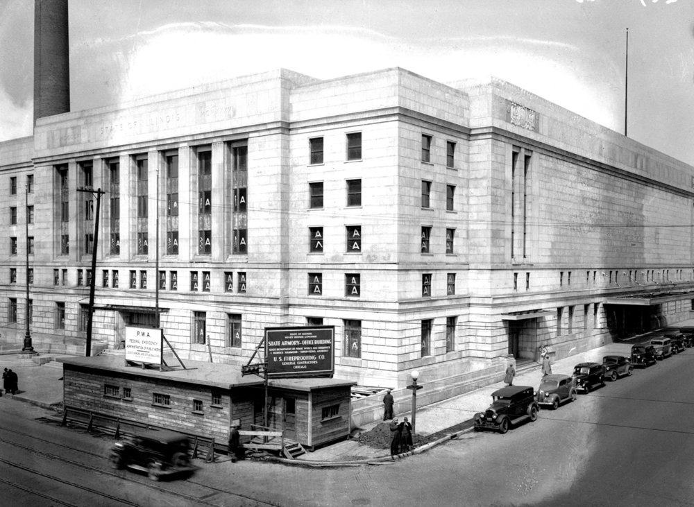 Illinois State Armory under construction, nearly completed, April 1, 1937. 