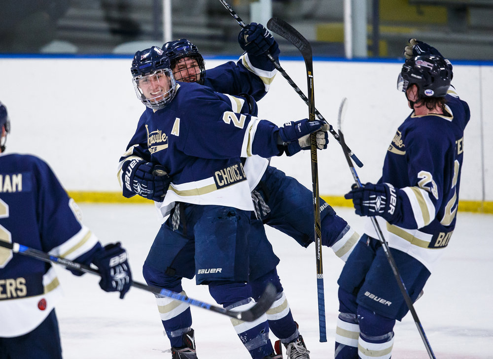 Janesville Jets' Cole Paskus (21) celebrates his goal against the Springfield Jr. Blues in the first period at the Nelson Center, Tuesday, March 28, 2017, in Springfield, Ill. [Justin L. Fowler/The State Journal-Register]
