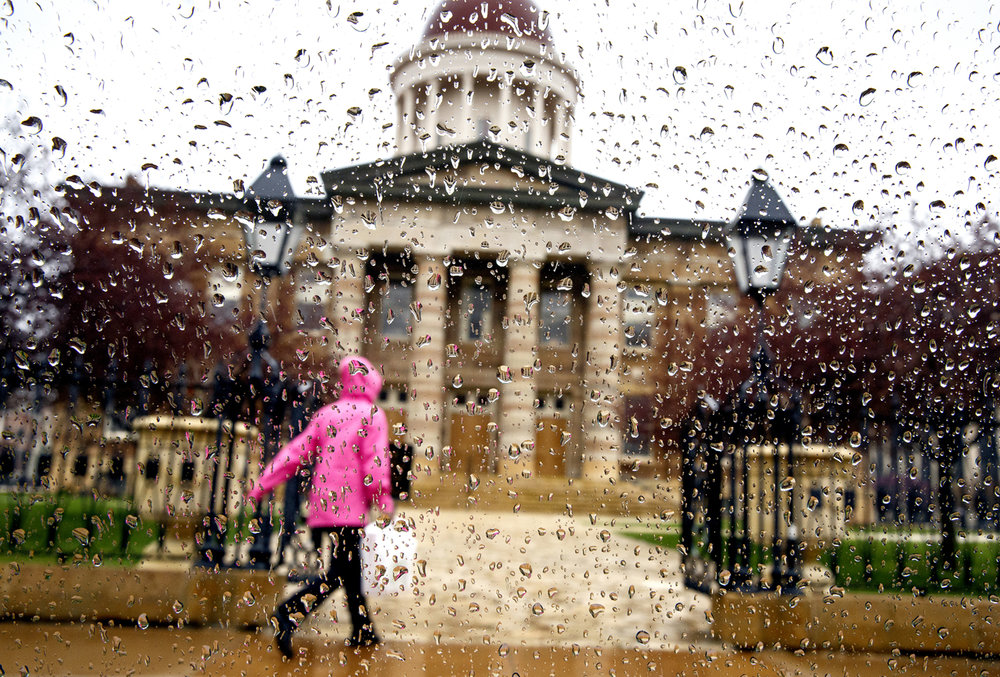 Raindrops on a window render an impressionistic view of the Old State Capitol Monday, March 27, 2017. According to the National Weather Service, rain will continue on and off through Thursday. [Rich Saal/The State Journal-Register]