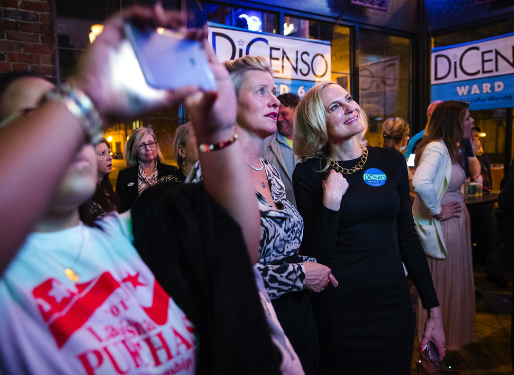 Kristin DiCenso watches as election results come in for the Springfield City Council Ward 6 seat at JP Kelly's in Springfield Tuesday, April 4, 2017. Dicenso defeated Martin Fructhl and will take over for Cory Jobe, the state tourism director, who resigned in November when he moved to Chicago. [Ted Schurter/The State Journal-Register]