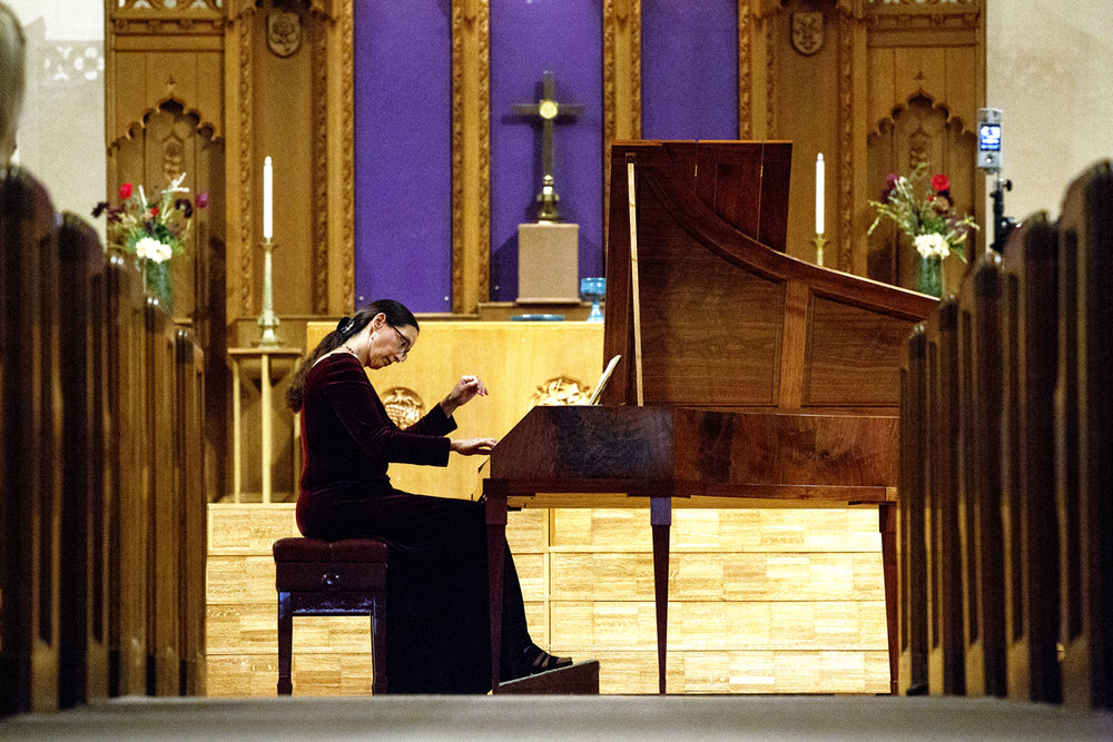 Maria Horvath on a forte piano performs a sonata in E major by Johann Christian Bach Wednesday, April 5, 2017, part of the 2017 Lenten Brown Bag Concert Series at First Presbyterian Church. Horvath is the principal keyboard with the Illinois Symphony Orchestra and the Illinois Symphony Chamber Orchestra. The Capital Chamber Singers will perform the last in the free weekly concerts next Wednesday at 12:15 p.m. [Rich Saal/The State Journal-Register]