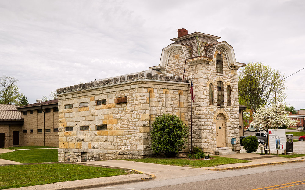 The 1869 Macoupin County Jail, known as the Cannonball Jail, in Carlinville, Ill., was designed by E.E. Meyers who also designed the Macoupin County Courthouse across the street. Route 66 preservation groups have joined local efforts to restore and reopen the jail. [Ted Schurter/The State Journal-Register]