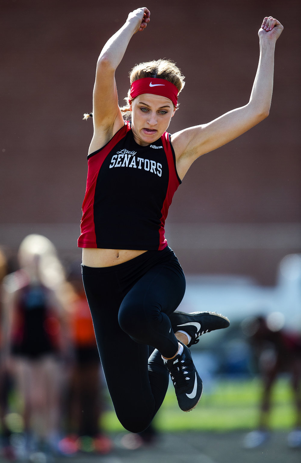 Springfield's Jennifer Parsons placed second in the long jump during the Girls City Meet at Memorial Stadium Tuesday, April 25, 2017.  [Ted Schurter/The State Journal-Register]