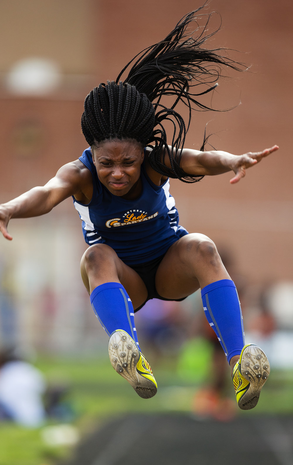 Southeast's Serena Bolden won both the triple jump and the long jump during the Girls City Meet at Memorial Stadium Tuesday, April 25, 2017.  Ted Schurter/The State Journal-Register