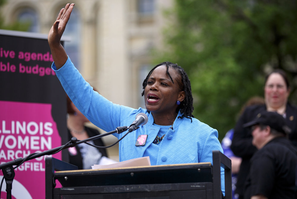 Rep. Carol Ammons, D-Champaign, told a crowd at the Illinois Women March on Springfield that she is forming an exploratory committee and is considering a run for the U.S. House against Congressman Rodney Davis in the 13th district at the Capitol in Springfield, Ill. Tuesday, April 25, 2017. [Rich Saal/The State Journal-Register]