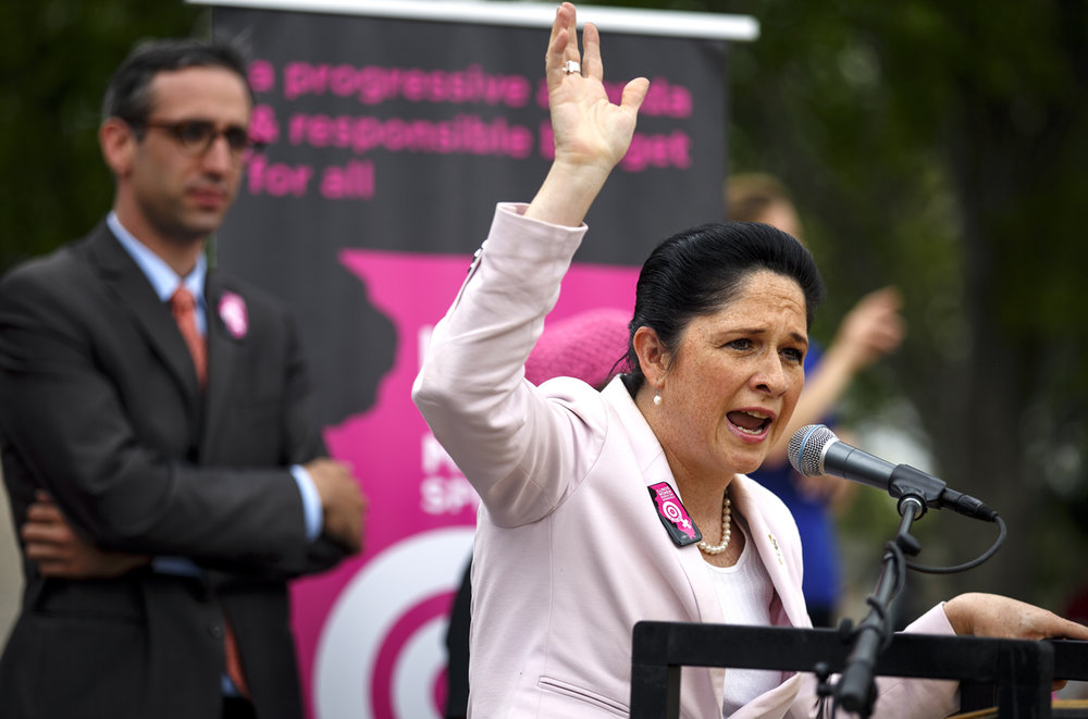 Illinois Comptroller Susana Mendoza addresses the Illinois Women March on Springfield at the Capitol in Springfield, Ill. Tuesday, April 25, 2017. [Rich Saal/The State Journal-Register]