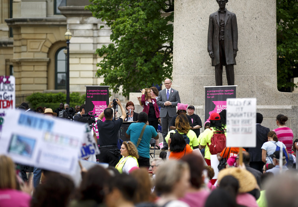 Several dozen Illinois lawmakers, including Sen. Heather Stearns, D-Chicago, and Sen. Don Harmon, D-Oak Park, addressed the Illinois Women March on Springfield at the Capitol in Springfield, Ill. Tuesday, April 25, 2017. [Rich Saal/The State Journal-Register]
