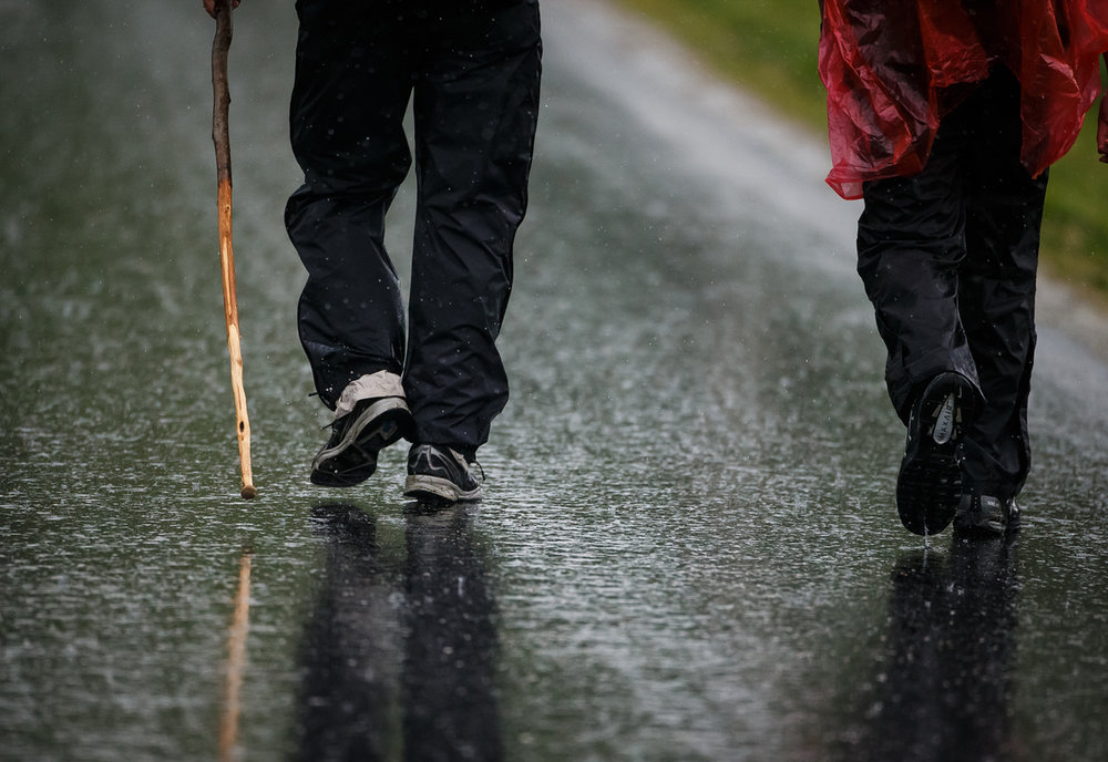 A good walking stick helped David Dempsey, left, and his son David Dempsey Jr., right, both of Edwardsville, Ill., and members of Troop 1072, navigate the water logged route during the Lincoln Trail Hike, Saturday, April 29, 2017, north of Springfield, Ill. The 19-mile hike takes Boy Scouts from New Salem Historic Site to Stuart Park in Springfield. [Justin L. Fowler/The State Journal-Register]