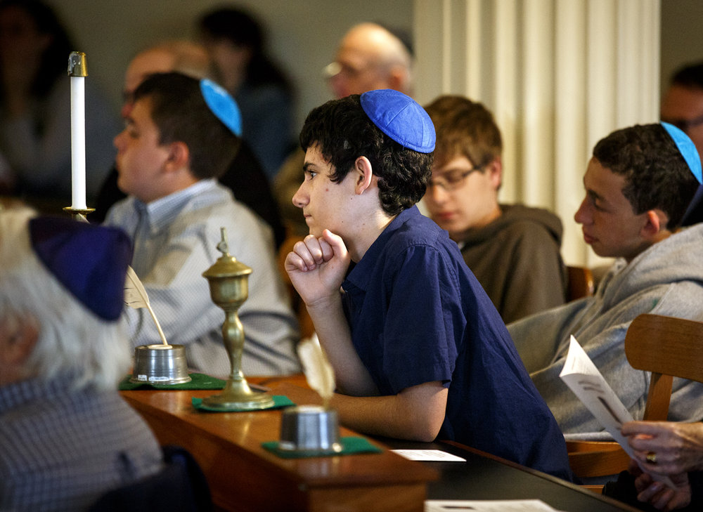 Zevi Hartman-Seeskin, a student at the Chicago Jewish Day School, listens during the Illinois Holocaust Memorial Service at the Old State Capitol Thursday, April 27, 2017. The event is sponsored by the Office of the Governor and the Jewish Federations of Illinois. [Rich Saal/The State Journal-Register]