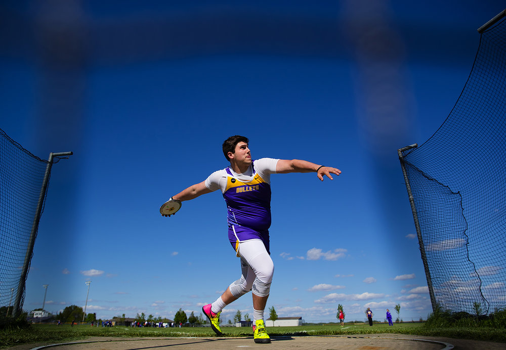 Williamsville's Brad Olysav won the discus during the Sangamon County Track Meet at Williamsville High School Friday, May5, 2017. Olysav also won the shot put. [Ted Schurter/The State Journal-Register]