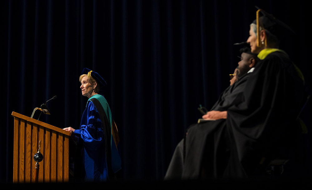 UIS Chancellor  Susan J. Koch addresses students during the commencement ceremonies for the College of Liberal Arts and Sciences at the Prairie Capital Convention Center Saturday, May 13, 2017. [Ted Schurter/The State Journal-Register]
