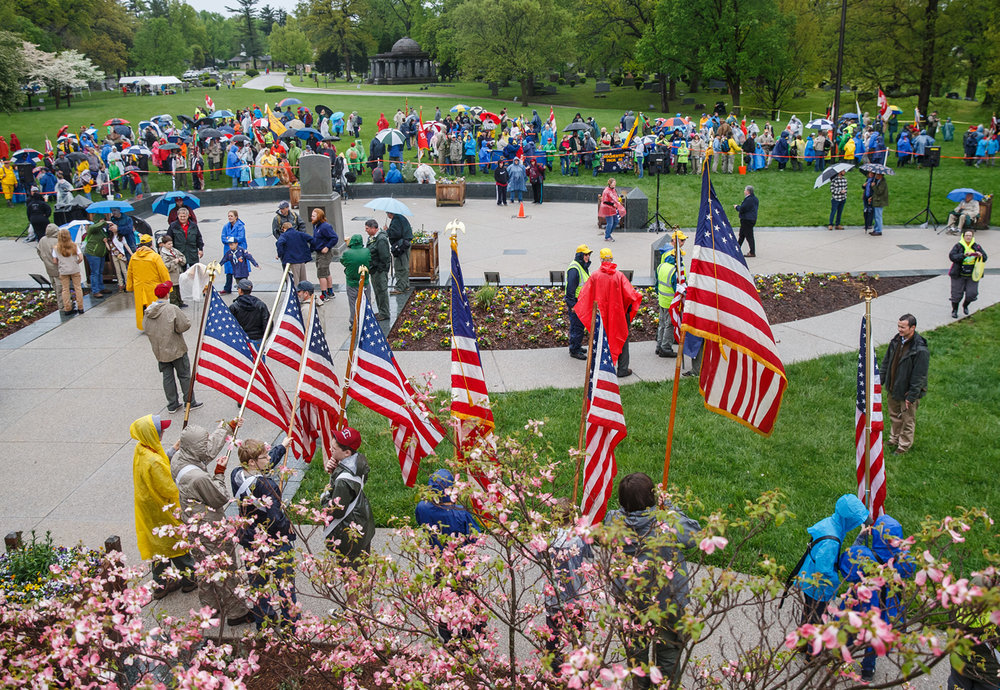 Bad weather kept the numbers down for Boy Scouts participating in the 72nd annual Lincoln Pilgrimage by the Abraham Lincoln Council Boy Scouts of America at the Lincoln Tomb in Oak Ridge Cemetery, Sunday, April 30, 2017, in Springfield, Ill. [Justin L. Fowler/The State Journal-Register]