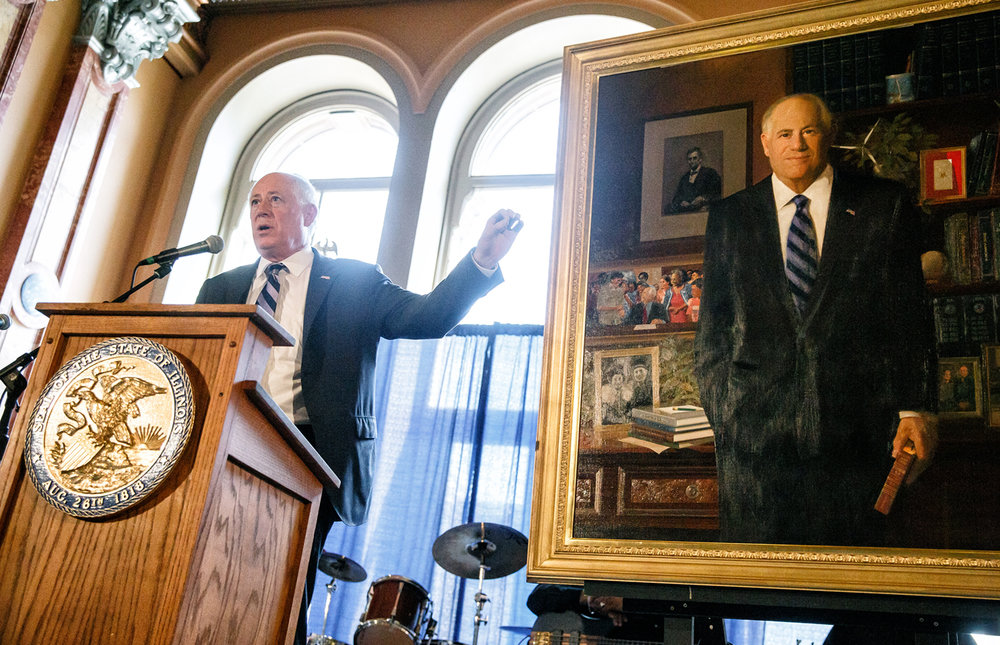 Former Illinois Gov. Pat Quinn unveils his official portrait during a ceremony in the Hall of Governors at the Illinois State Capitol, Monday, May 8, 2017, in Springfield, Ill. The oil painting was done by William Chambers, an artist based in Arlington Heights, Ill., who also did the official portraits of Govs. Jim Edgar and Jim Thompson, and features details within the painting of events during Quinn's tenure as governor. [Justin L. Fowler/The State Journal-Register]