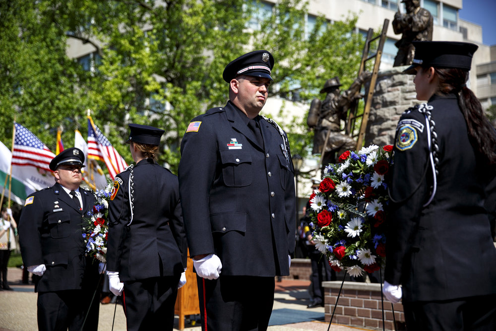 The Associated Firefighters of Illinois Honor Guard flank the wreaths for Capt. Eric Kohlbauer of the Freeport Rural Fire Protection District and firefighter/paramedic Kenneth Harris from the Village of Oak Park Fire Department during the 24th Illinois Fallen Firefighter Memorial and honor awards ceremony Tuesday, May 9, 2017. Kohlbauer and Harris died in the line of duty in 2016. From left are Tom Farr from South Holland, Katie Gritsuk from Lockport, Jason Martin from Palos Heights and Courtney Jossendal from Carbondale. [Rich Saal/The State Journal-Register]
