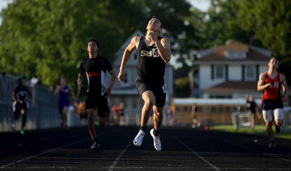 Sacred Heart-Griffin's Tristan Blair wins the 400 meter dash during the 2017 2A Springfield Sectional at Memorial Stadium Thursday, May 18, 2017.  [Ted Schurter/The State Journal-Register]