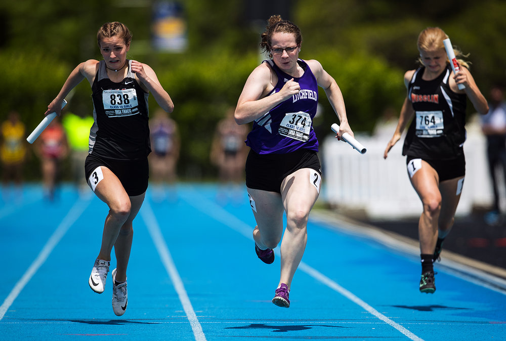 Litchfield's  Courtney Priddle sprints for the finish line in the Class 1A 4x100 meter relay during the Girls Track and Field State Final Meet at O'Brien Field in Charleston, Ill., Saturday, May 20, 2017.  The team finished sixth in 50.60. [Ted Schurter/The State Journal-Register]