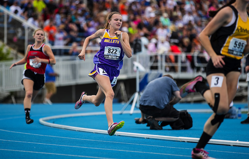 Williamsville's Presley Scarbrough competes in the Class 1A 400 Meter dash during the Girls Track and Field State Final Meet at O'Brien Field in Charleston, Ill., Saturday, May 20, 2017.  [Ted Schurter/The State Journal-Register]